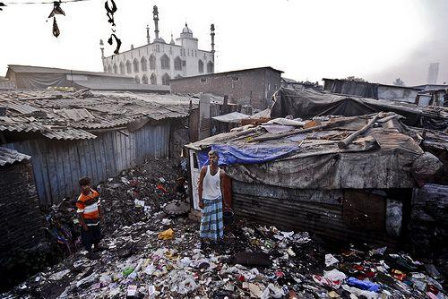 Dharavi, bidonville à Bombay, en Inde