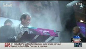 François Hollande enfariné