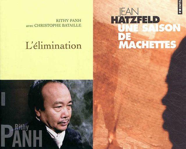 """couvertures de Rithy Panh """"L'élimination"""" chez Grasset, et Jean Hazfeld """"une saison des machettes"""" chez Point seuil ."""