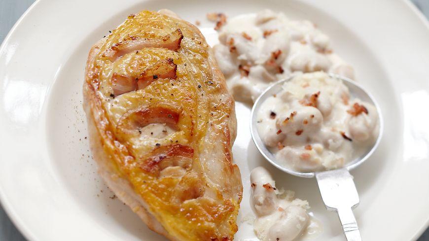 recette-5452-Suprême de pintade au lard risotto de haricots tarbais au brebis de la Vallée d'Ossau