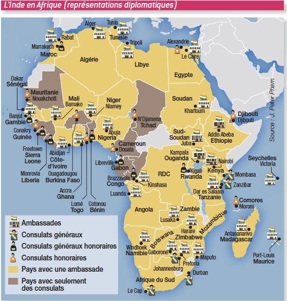Les représentations diplomatiques indiennes en Afrique