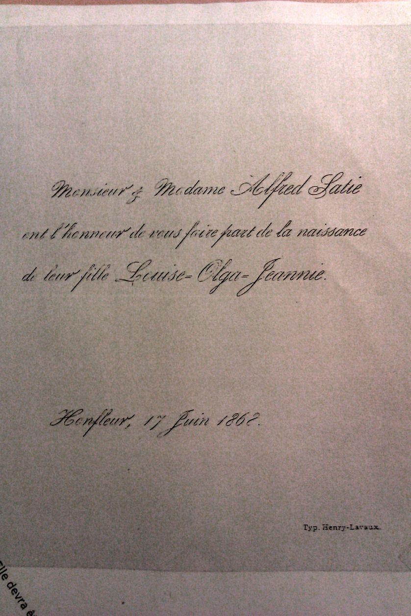 Faire-part de naissance d'Olga Satie