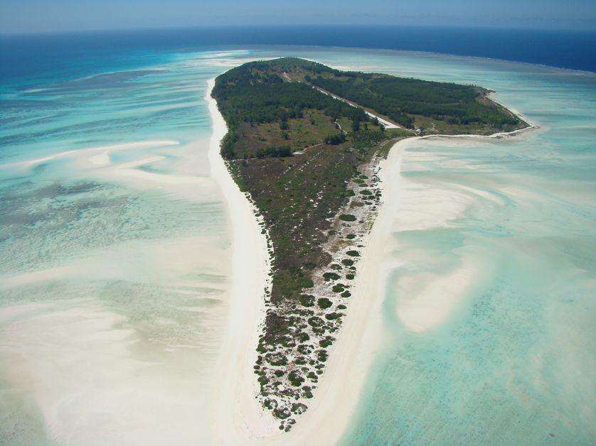 Vue aérienne de Juan de Nova (océan Indien)
