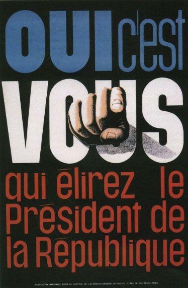 Affiche annonçant le référendum de 1962 sur l'élection au suffrage universel du président de la République