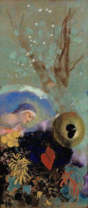 Odilon Redon (1840 – 1916), Hommage à Léonard de Vinci. Vers  1914. Pastel sur papier.Amsterdam, Stedelijk Museum