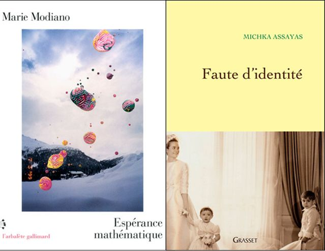 """couverture des livres de Marie Modiano """"Espérance mathématique"""" et de Michka Assayas pour """"'Faute d'identité"""""""