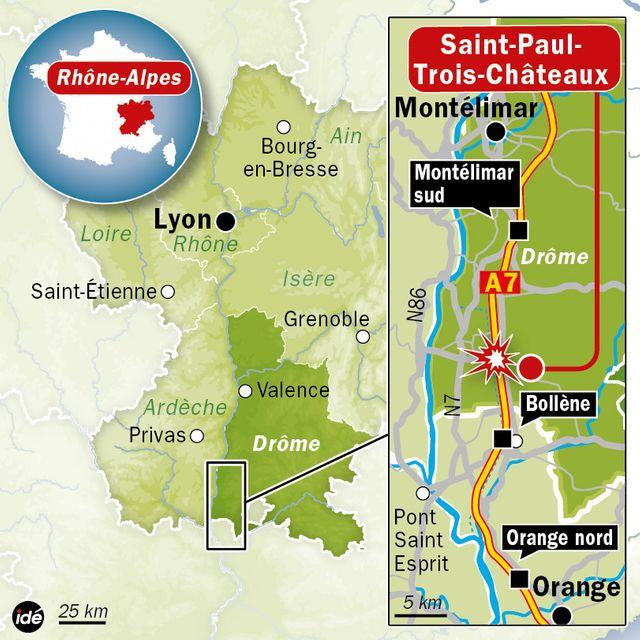 L'accident a eu lieu au niveau de Saint-Paul-Trois-Chateaux sur l'autoroute A7