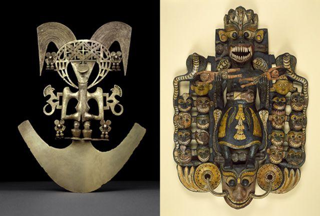 Pectoral en forme d'homme-oiseau Cauca , Colombie - Grand masque du démon Maha-Kola Sanniya