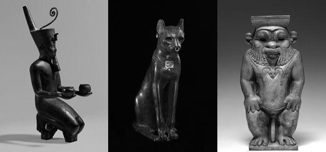 Statue agenouillée d'un roi kouchite - Statue de Bastet sous forme de chatte - Statue de Bès