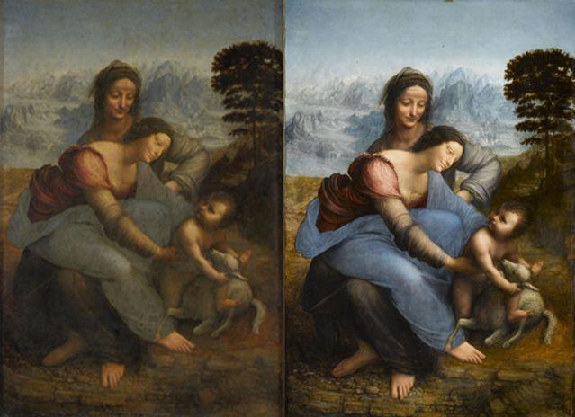 Avant, après - Sainte Anne, la Vierge et l'Enfant jouant avec un agneau dit La Sainte Anne
