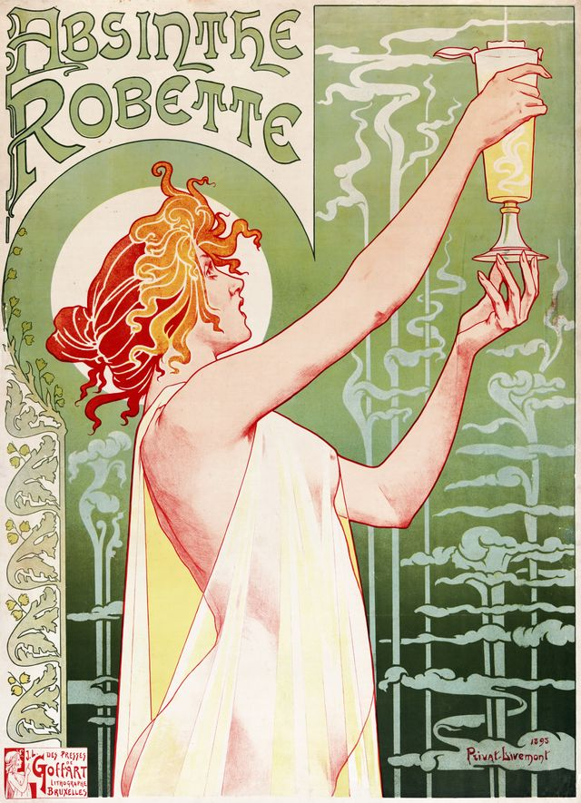 Affiche pour l'absinthe Robette par Henri Privat-Livemont en 1896