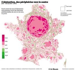 Cartogramme de l'évolution de l'abstention, 1ers tours  2012 et 2007