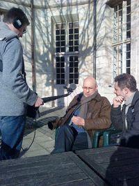 Le Colonel Spire avec Franck Thoraval et Marc Garvenes à la prise de son