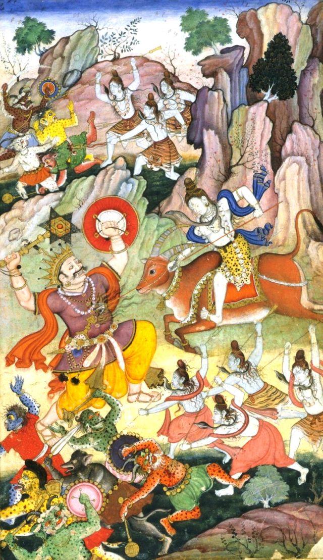 Shiva tuant le démon Andhaka - Manuscrit perse vers 1590