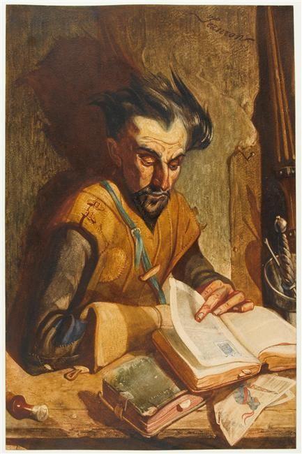 Don Quichotte lisant des romans de chevalerie - Philippe-Auguste Jeanron