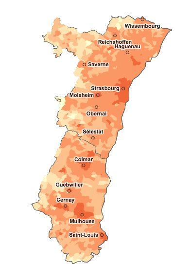 densité de population en Alsace