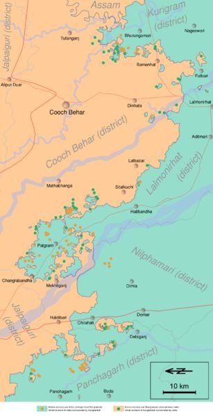 Carte des enclaves de la frontière indo-bengladeshie
