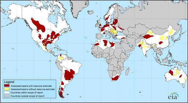 Carte des gisements connus de gaz de schistes dans le monde