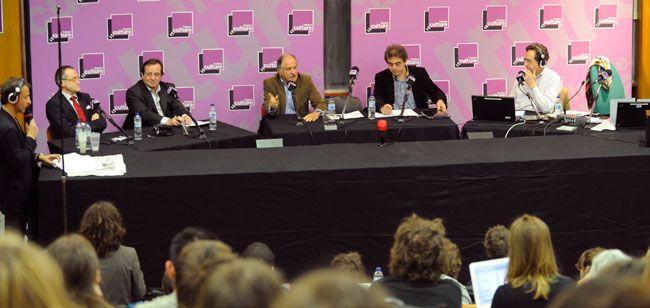 De gauche à droite : Marc Voinchet, Paul Marie Couteaux, Yves Harté, Noel Mamère, Hubert Huertas et Brice Couturier