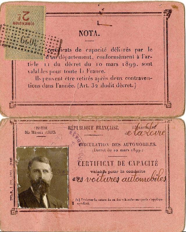 Certificat de capacité pour la conduite des voitures automobiles émis en 1922