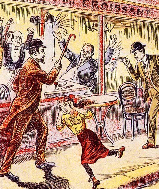 L'assassinat de Jaurès - illustration d'époque