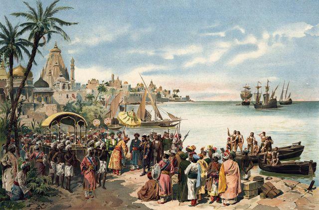 L'arrivée de Vasco de Gama à Calicut en 1498 - Alfredo Roque Gameiro vers 1900