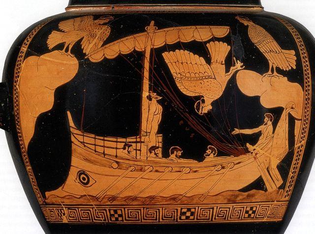 Ulysse et les Sirènes - Détail d'un stamnos attique à figures rouges du Peintre de la Sirène vers 480-470 av. J.-C.