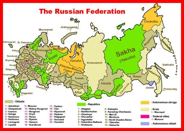 Russie, carte des régions de la fédération