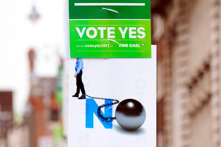Affiches dans le centre de Dublin pour le référendum de ce jeudi 31/05