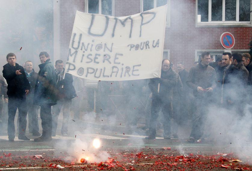 Manifestation des travailleurs de Seafrance à Calais le 10/01/2012