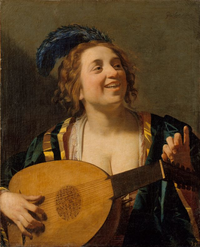 Gerrit van Honthorst - Femme accordant son luth