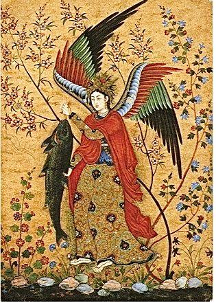 L'Archange Raphaël, appelé aussi l'ange de Tobie, du peintre Hossein Naqqâsh, Ecole moghole, vers 1590, Musée Guimet, Paris