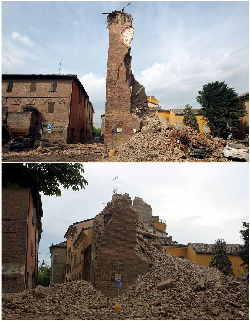 La Tour de l'Horloge de Finale Emilia, qui s'est effondrée en deux temps. A cause du séisme puis d'une réplique