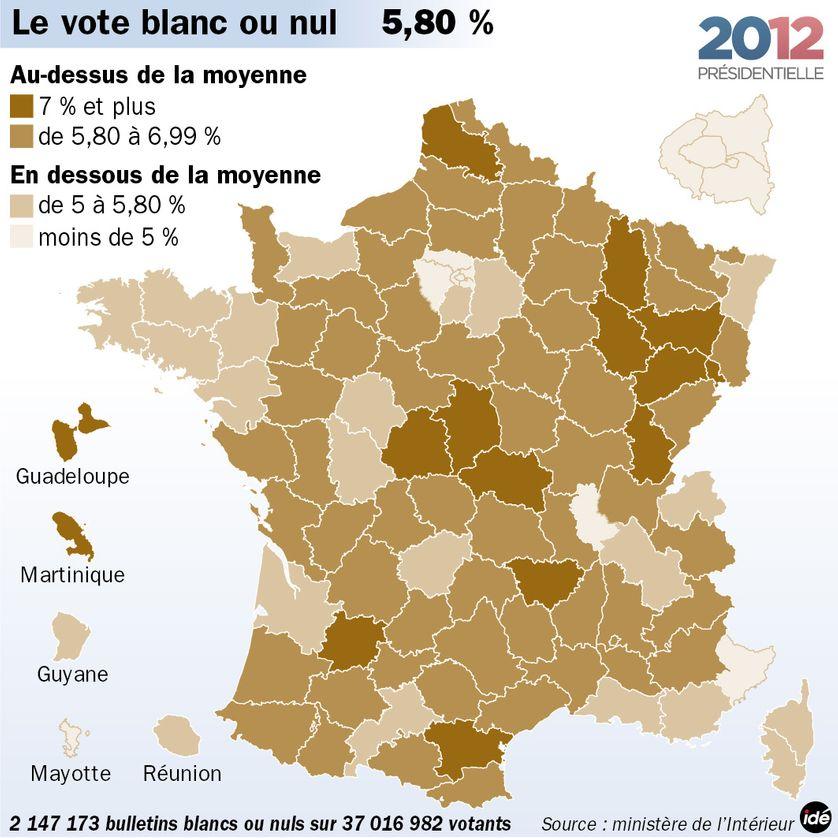 Les bulletins blancs et nuls au second tour de la présidentielle de 2012