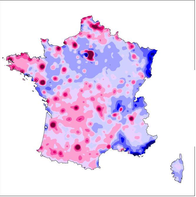 la densité du solde des votes Hollande-Sarkozy
