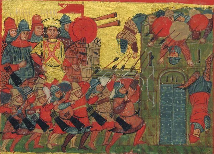 Miniature grecque byzantine tirée d'un manuscrit du XIV°s. représentant Alexandre le Grand et son infanterie