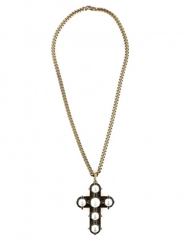 Long necklace with pendant of a cross with pearl applications.
