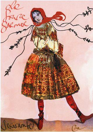 Maquette d'après Christian Lacroix pour le costume d'une Servante