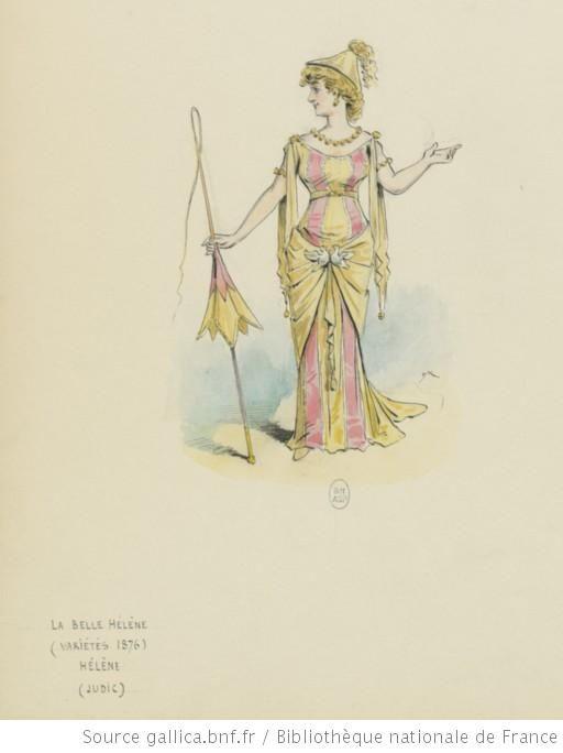 Anna Judic (Hélène) dans La Belle Hélène, opéra-bouffe de Henri Meilhac, Ludovic Halévy et Jacques Offenbach. Variétés, 1876.