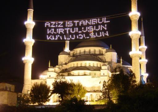Istanbul : la mosquée bleue (Sultanahmet) de nuit