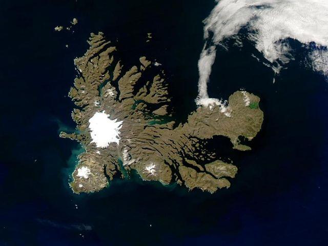 Les îles Kerguelen vues depuis l'espace
