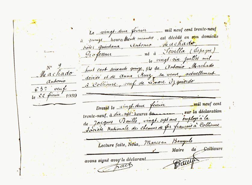 Copie de l'acte de décès d'Antonio Machado