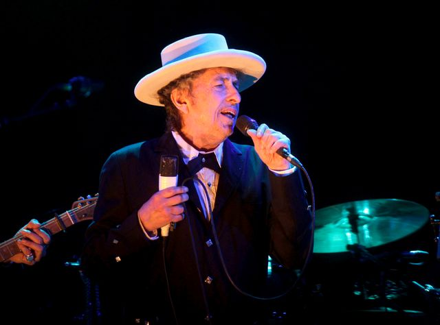 Bob Dylan performs on stage during his concert on the second day of Benicassim International Music Festival