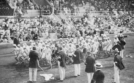 Départ du marathon de Stockholm 1912
