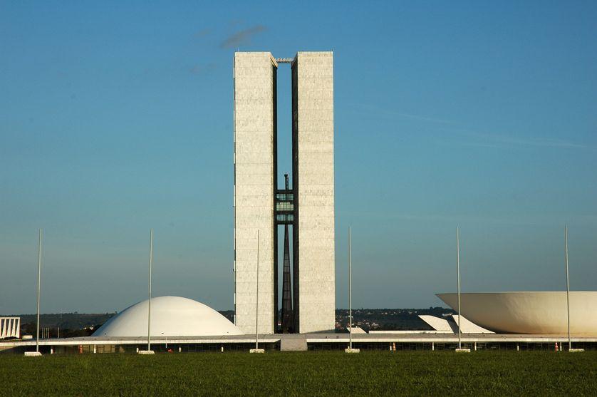 Le Congrès National du Brésil à Brasilia, dessiné par l'architecte Oscar Niemeyer