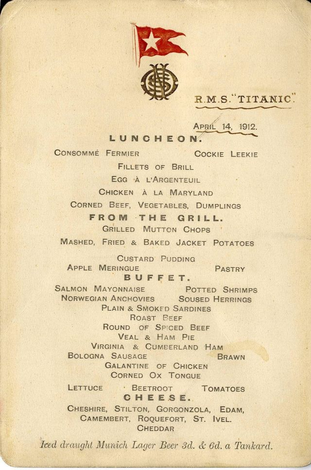 Titanic 4 - First Class on board luncheon menu from 14 April 1912