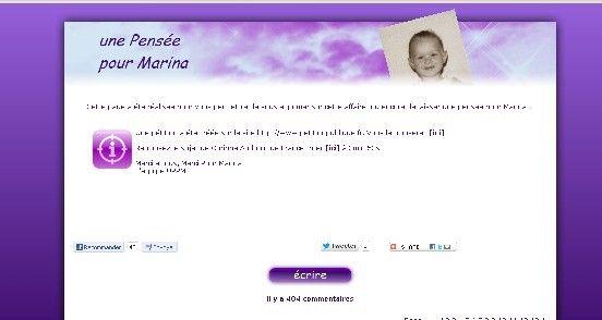 Capture d'écran du site unepenseepourmarina.free.fr