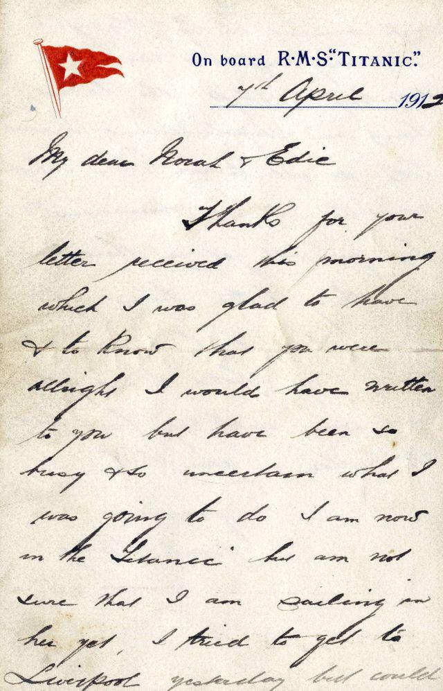 Titanic 5 - A letter written on board on Titanic
