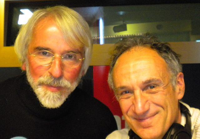 Philippe Delerm et Denis Cheissoux dans les studios de France Bleu Loire Océan