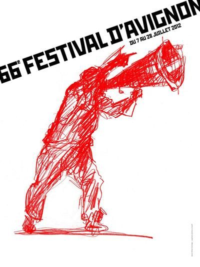 dessin de William Kentridge pour l'affiche du Festival d'Avignon 2012
